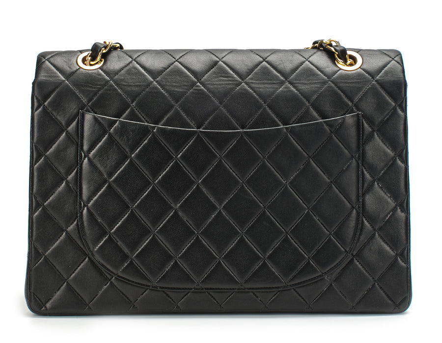 Chanel Black Lambskin Vintage Maxi Single Flap Bag