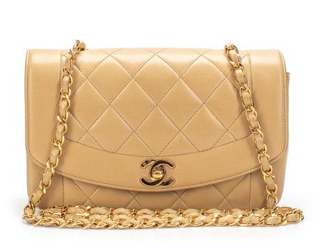 Chanel Beige Lambskin Small Diana Chic Flap Bag