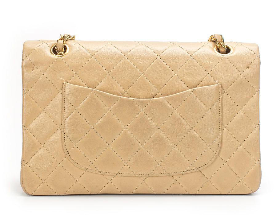 Chanel Beige Lambskin Medium Double Flap Bag