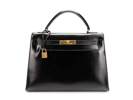 Hermes Black Boxcalf Sellier Kelly 32cm Bag