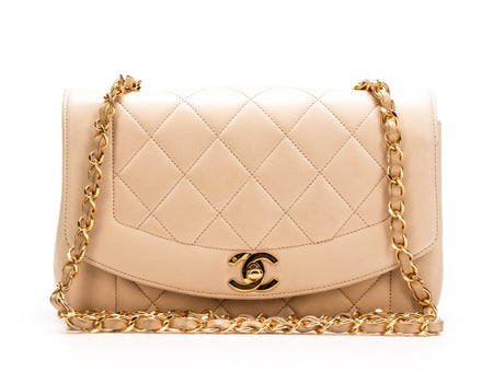 Chanel Beige Lambskin Diana Flap Bag