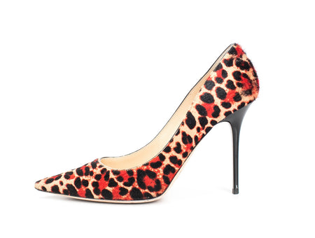 Jimmy Choo Romy Red Leopard Calf Hair Pumps Sz 40