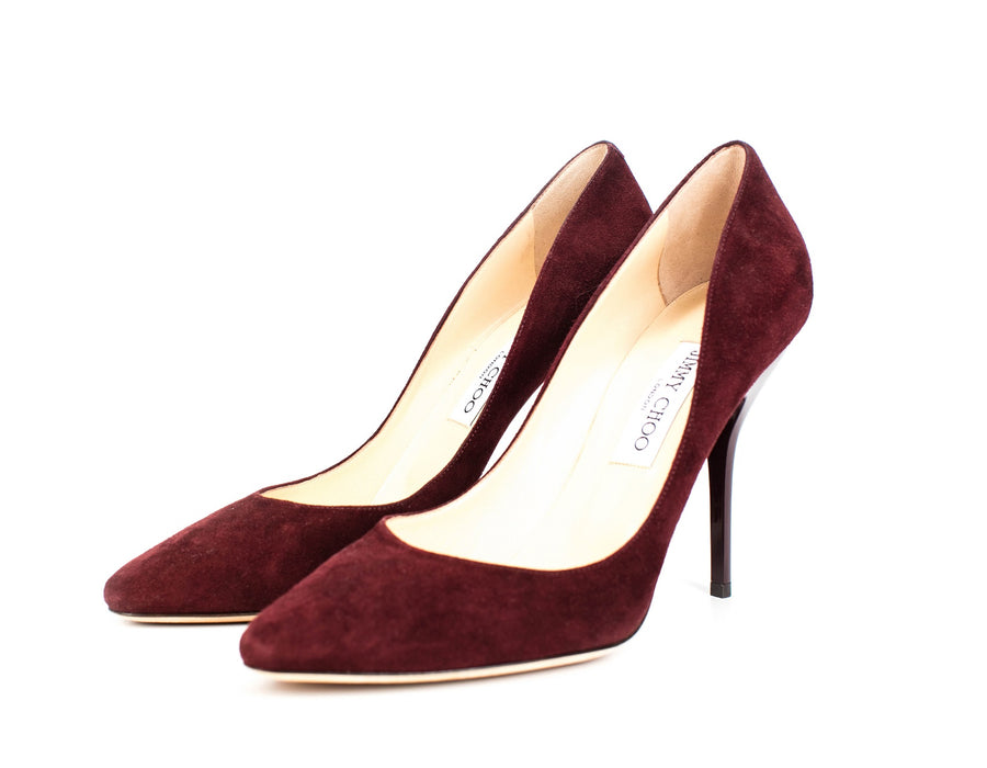Jimmy Choo Romy Bordeaux Suede Pumps Sz 40