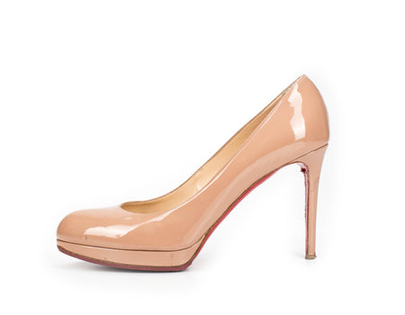 Christian Louboutin New Simple 120mm Nude Patent Heels Sz 40.5