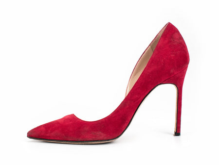 Manolo Blahnik Red Suede Pumps Sz 40