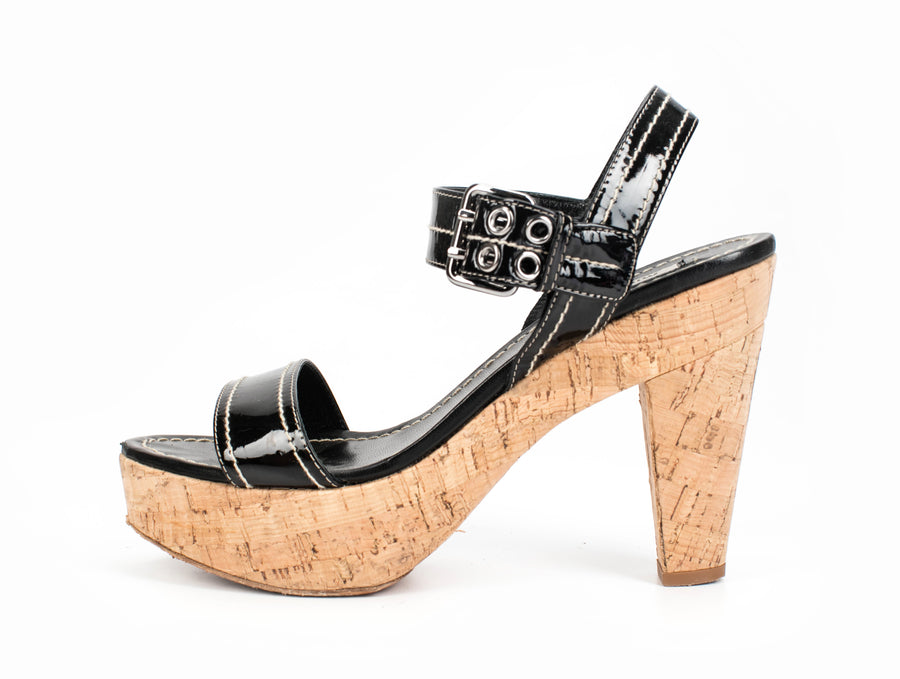 Miu Miu Black Patent Cork Heel Paltform Sandals Sz 39.5