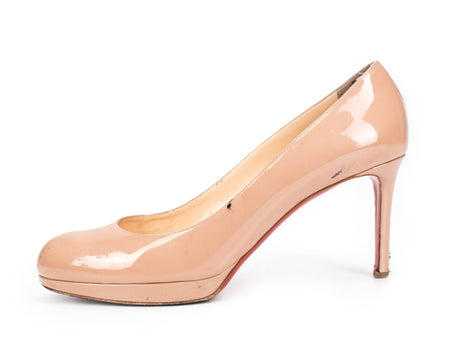 Christian Louboutin New Simple 100mm Nude Patent Leather Heels Sz 40.5