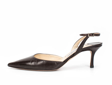 Jimmy Choo Brown Leather D'Orsay Slingback 40