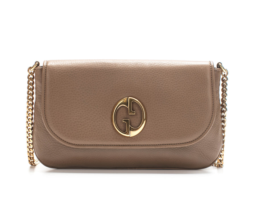Gucci Taupe Leather 1973 Shoulder Bag