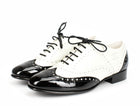 Chanel Black and White Patent Leather Wingtip Oxfords 36.5