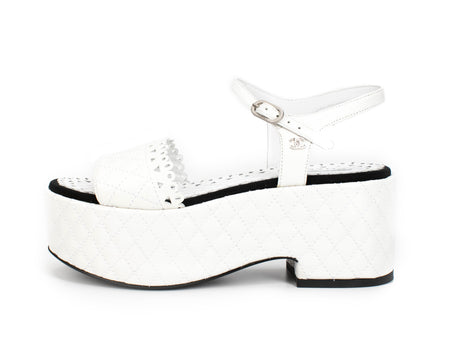 Chanel White Quilted Lasercut Flatform Sandals 36