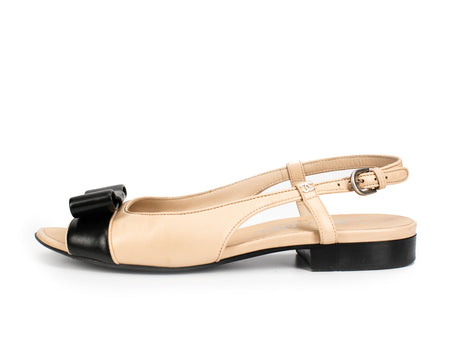 Chanel Beige and Black Leather Bow Peeptoe Slingbacks Sz 36