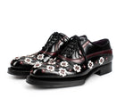 Prada Black Red and White Lasercut Flower Oxfords 35.5