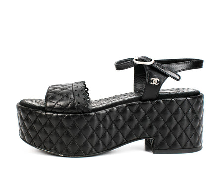 Chanel Black Quilted Leather Lasercut Flatform Sandals Sz 36