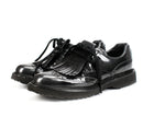 Prada Dark Grey Patent Leather Lug Sole Oxfords Sz 6