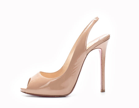 Christian Louboutin Private Number Nude Patent Leather 120 Pumps Sz 38.5