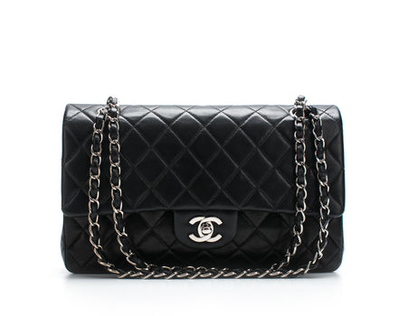 Chanel Black Lambskin Medium Double Flap Bag SHW