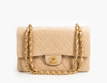 Chanel Beige Clair Lambskin Medium Double Flap Bag
