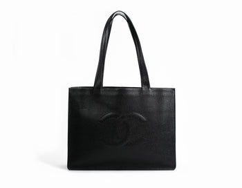 Chanel Black Caviar Vintage XL Shopper Tote Bag