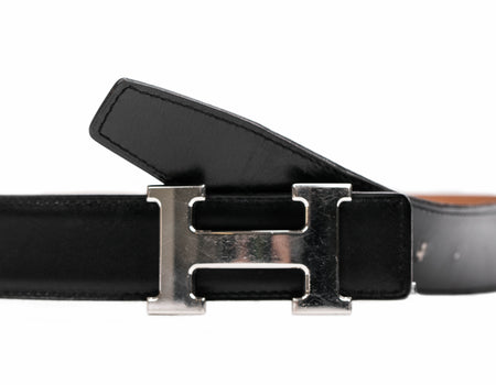 Hermes Black Boxcalf Constance H Belt Sz 85