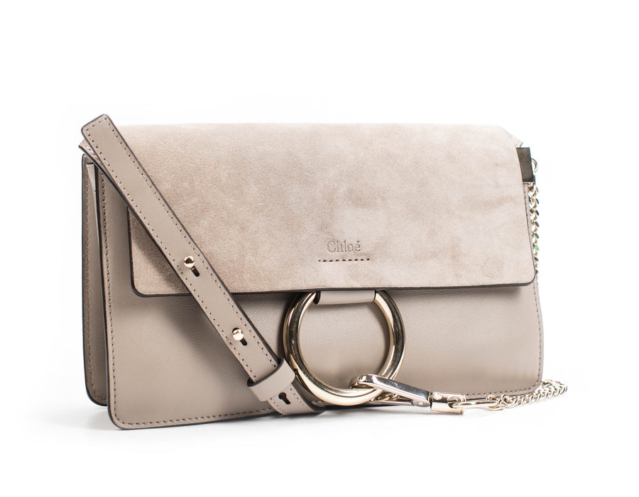 Chloe Grey Suede and Leather Small Faye Bag