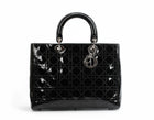 Christian Dior Black Patent Leather Large Lady Dior Bag SHW