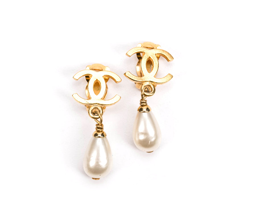 Chanel Gold CC Faux Pearl Drop Clip On Earrings