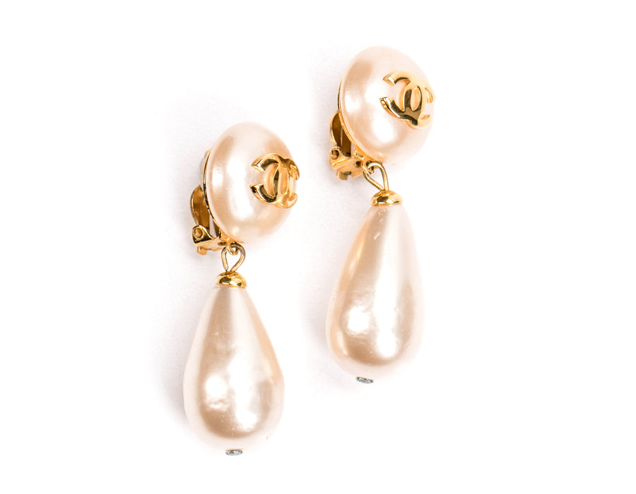 Chanel Faux Pearl Teardrop Clip On Earrings