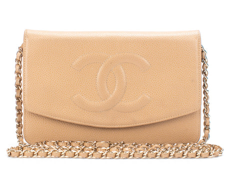 Chanel Beige Caviar CC Envelope WOC Wallet On Chain