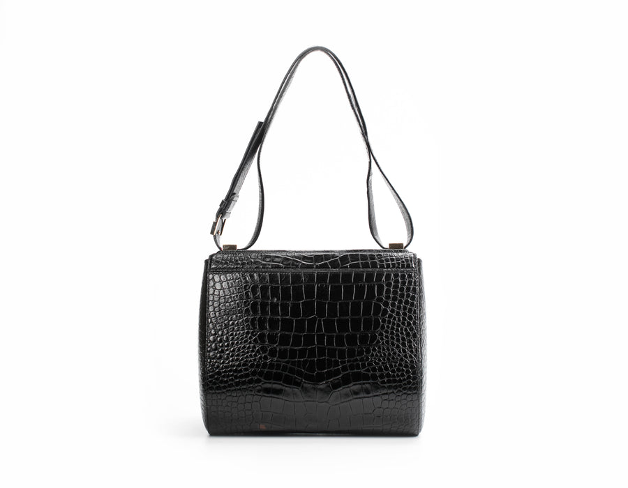 Givenchy Black Croc Embossed Medium Pandora Box Bag