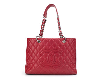 Chanel Red Caviar Grand Shopping Tote GST Bag
