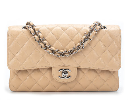 Chanel Beige Caviar Medium Double Flap Bag SHW