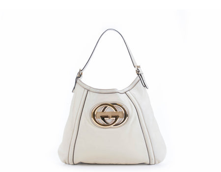 Gucci Ivory Leather Britt Hobo Bag