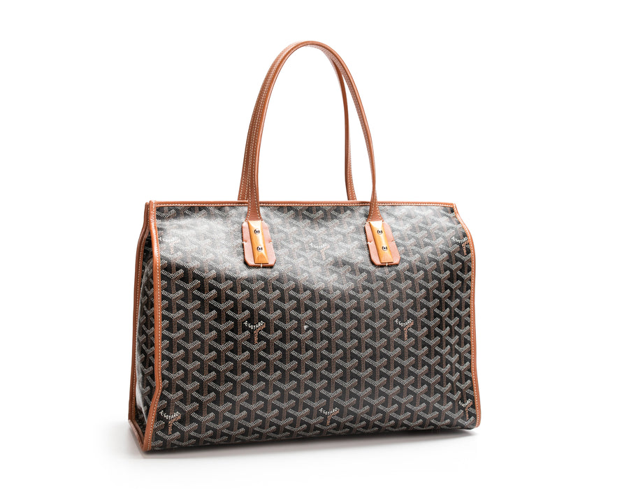 Goyard Black Monogram Linen Tan Sac Marquises Bag