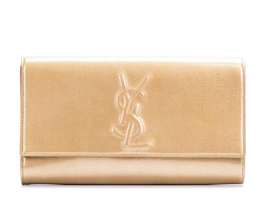 Saint Laurent Gold Metallic Patent Leather Monogram Kate/Belle De Jour Clutch