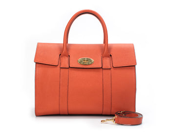Mulberry Orange Leather Bayswater Satchel Bag