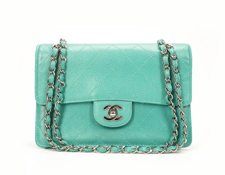 Chanel Turquoise Caviar Small Single Flap Bag