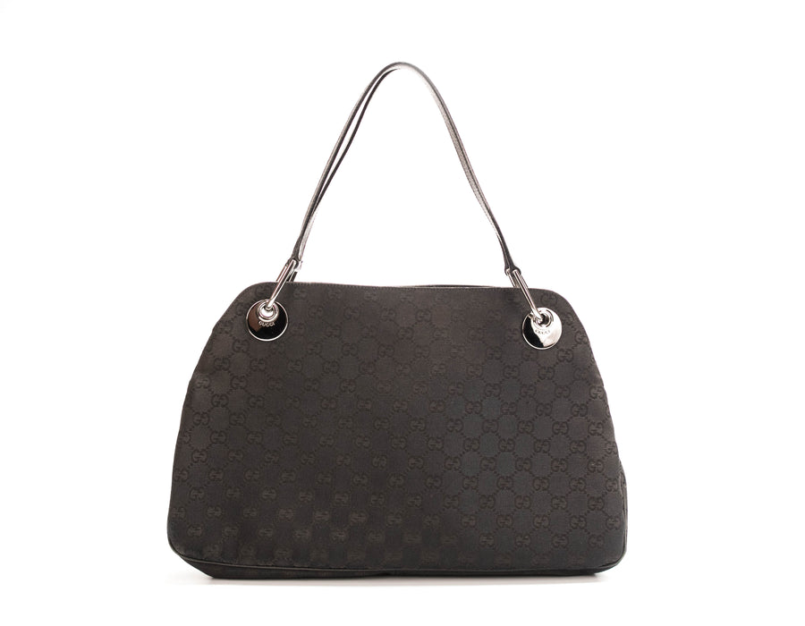 Gucci Black Monogram Canvas Eclipse Shoulder Bag
