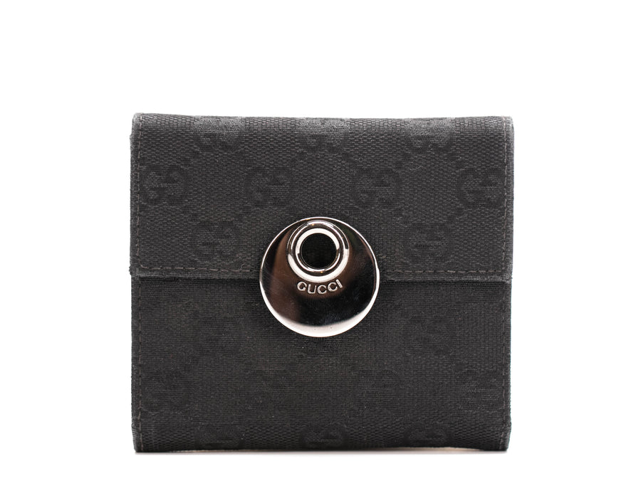 Gucci Black Monogram Canvas Bifold Wallet