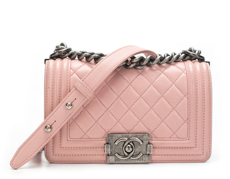 Chanel Light Pink Calfskin Small Boy Bag