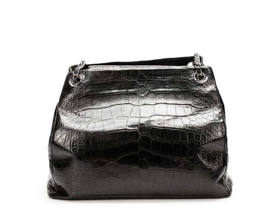 Chanel Black Alligator Cells Accordion Shoulder Bag