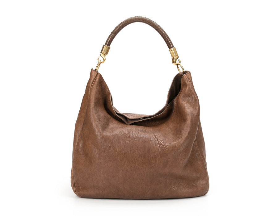 Yves Saint Laurent Brown Polished Leather Roady Hobo Bag