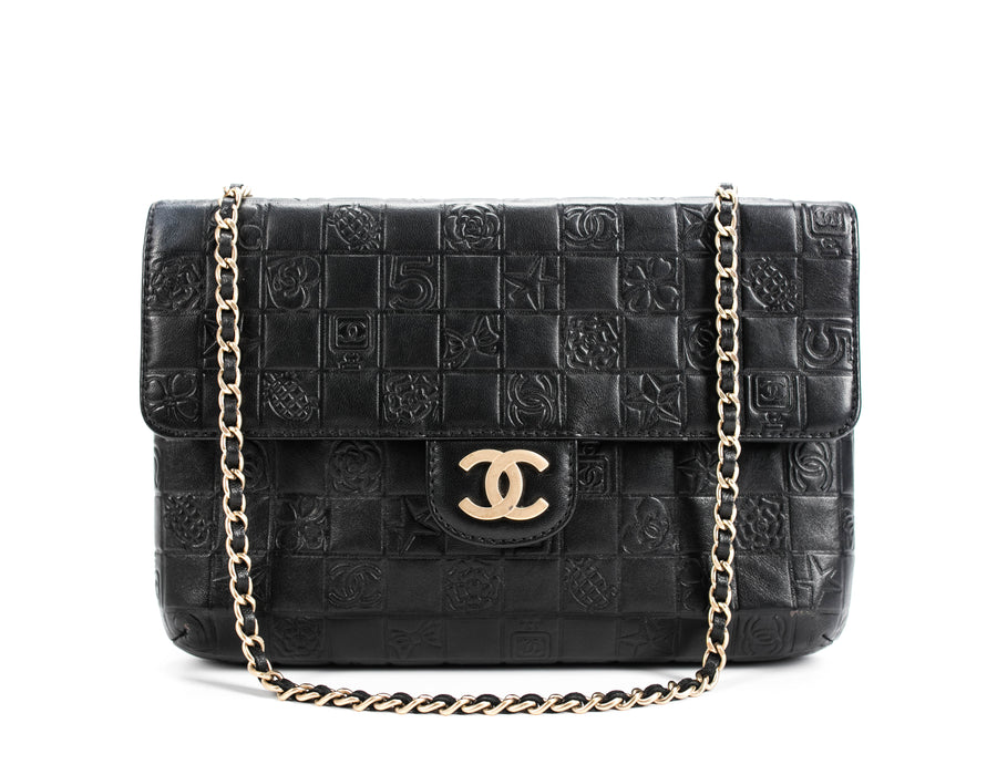 Chanel Black Lambskin Lucky Symbols Medium Flap Bag