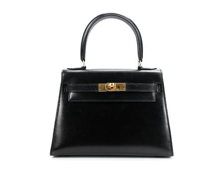 Hermes Black Box Calf Sellier Kelly 20cm Bag