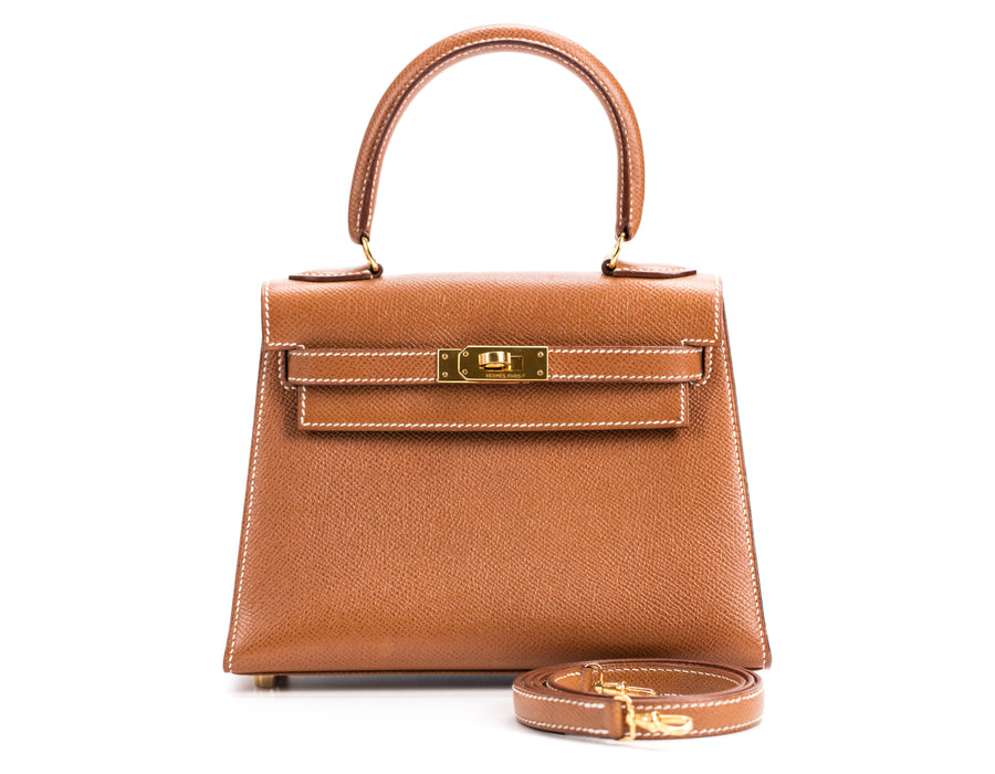 Hermes Gold Courchevel Sellier Kelly 20cm Bag