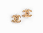 Chanel Gold Rhinestone Gold CC Clip On Earring
