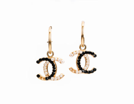 Chanel Black and White Rhinestone CC Drop Earrings