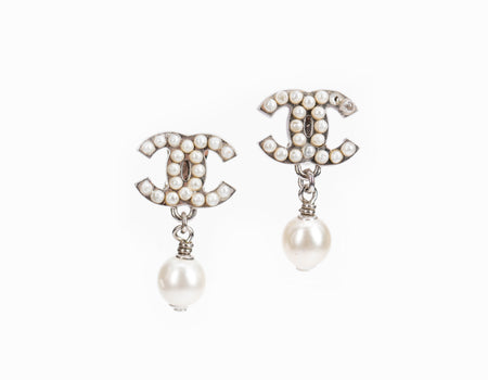 Chanel Silver CC Drop Faux Pearl Clip On Earrings