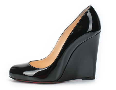 Christian Louboutin Black Patent Leather Round Toe Wedges Sz 38.5