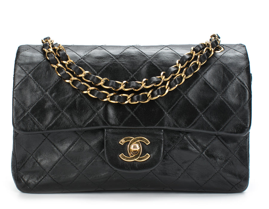 Chanel Black Lambskin Small Double Flap Bag